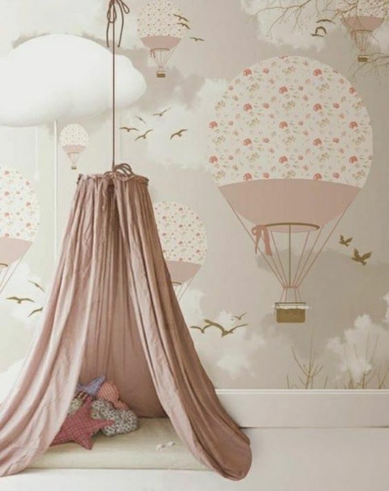 Mustertapeten Gasballon rosa Tapeten für Kinderzimmer Mädchen