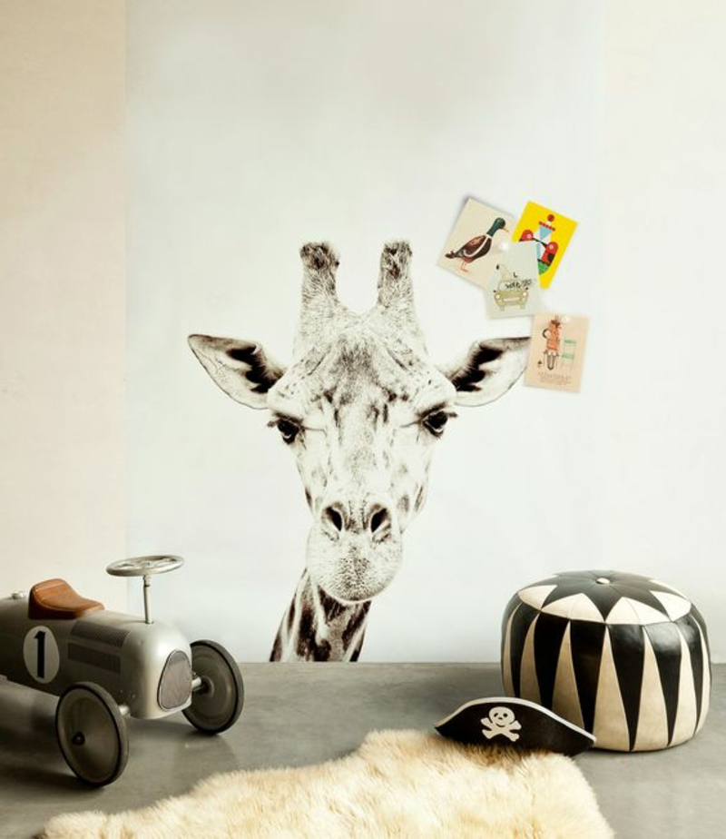 Mustertapeten Giraffe Tapeten Kinderzimmer gestalten