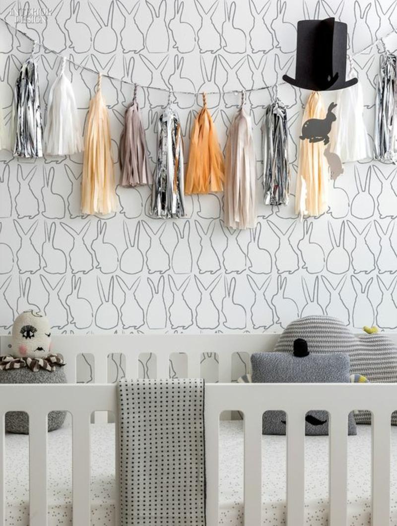 Mustertapeten Hasen Silhoutten Tapeten Kinderzimmer gestalten