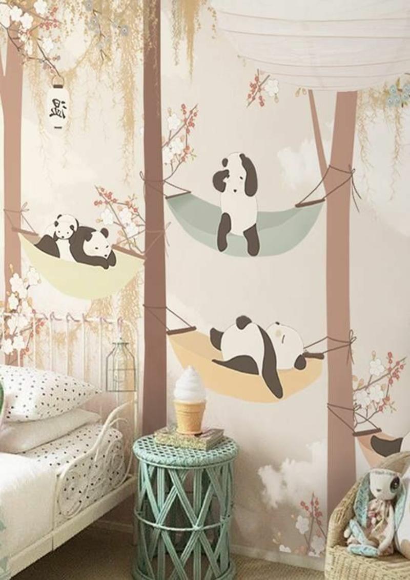 Mustertapeten Pandabären im Wald Tapeten Kinderzimmer gestalten