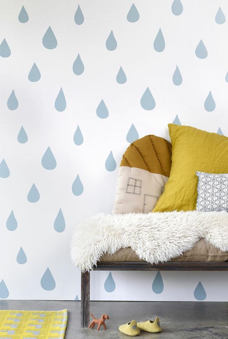 Mustertapeten Regentropfen blau Tapeten Kinderzimmer gestalten
