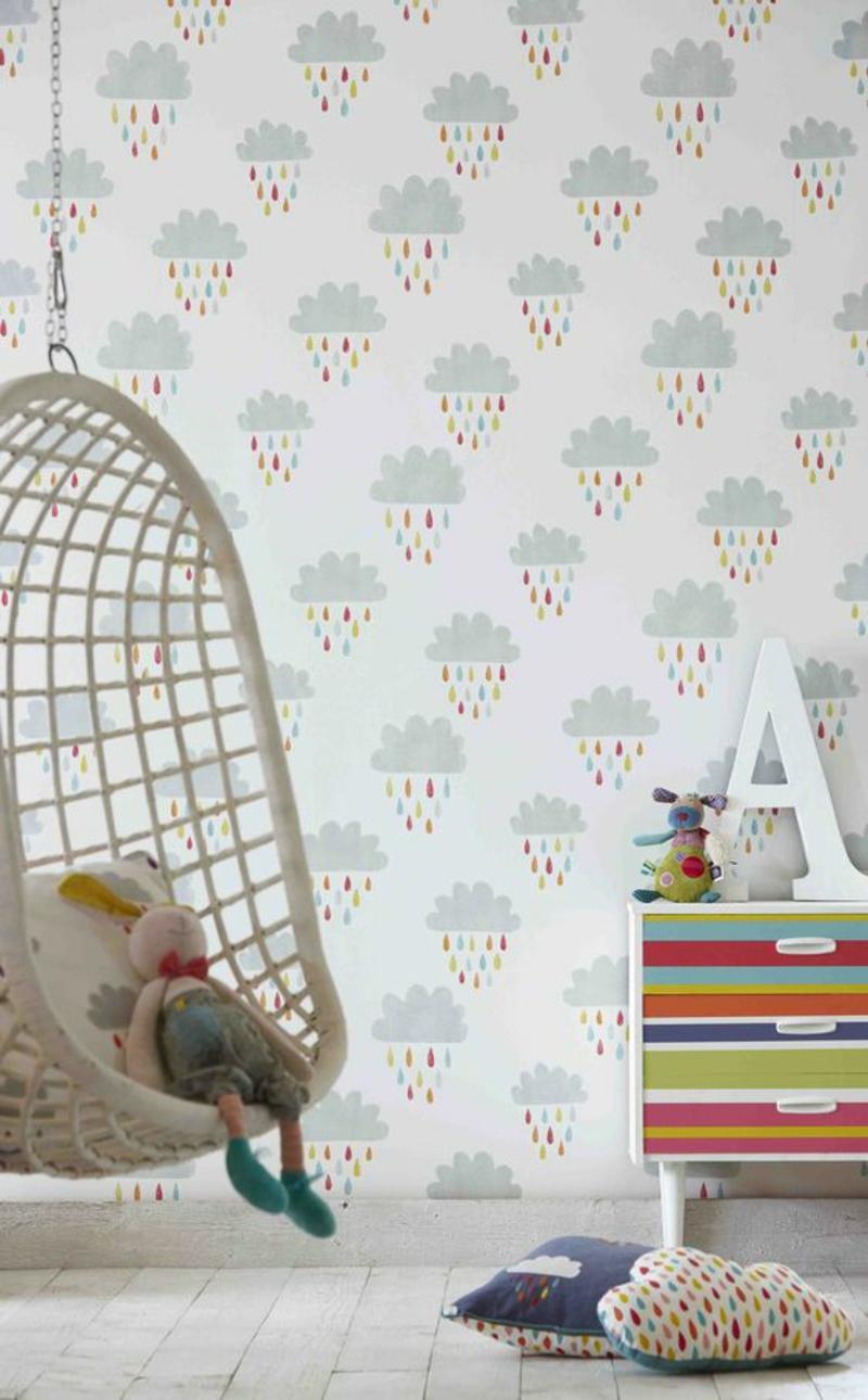 Mustertapeten Regenwolken Tapeten für Kinderzimmer gestalten