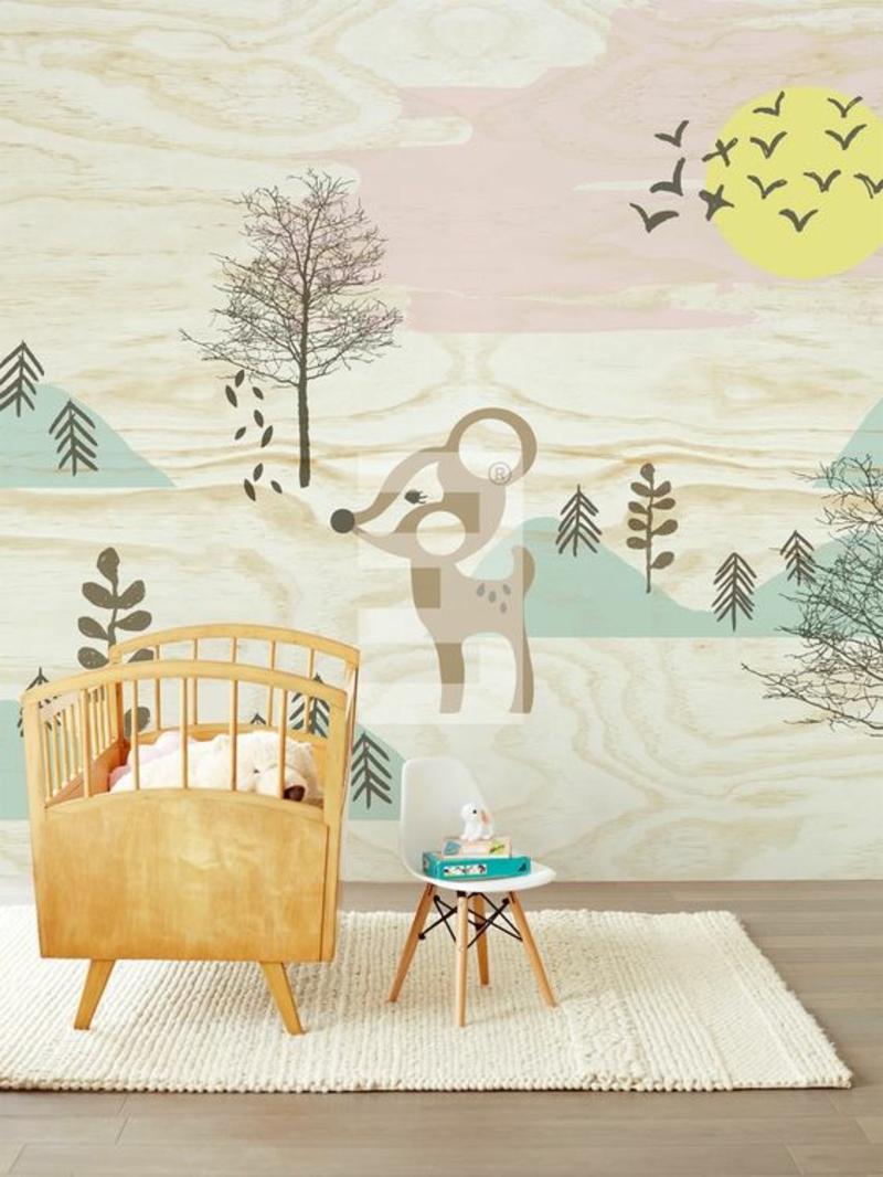 Mustertapeten Rehe im Wald Tapeten für Kinderzimmer gestalten