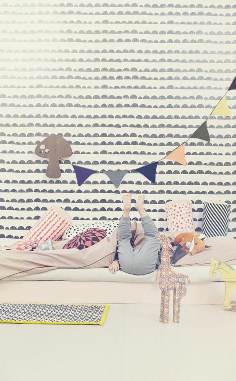 Mustertapeten Tapeten für Kinderzimmer gestalten grafische Muster