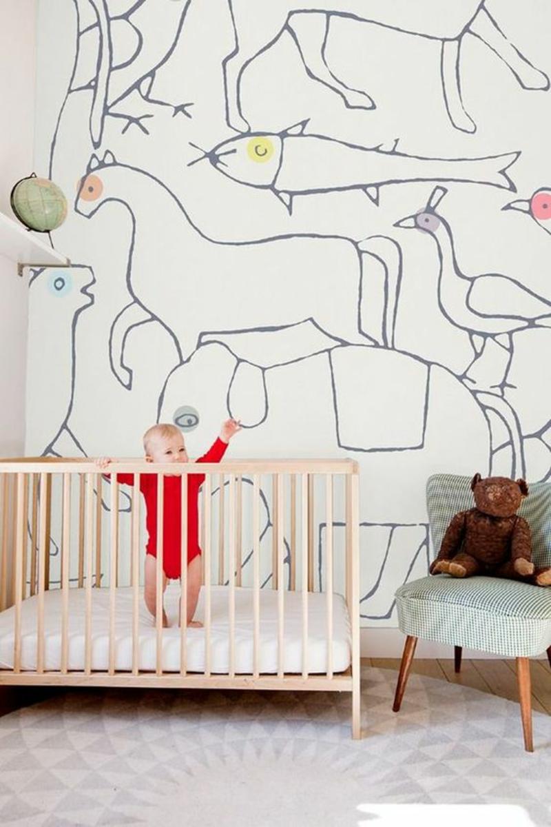 Mustertapeten Tiere Konturen Tapeten Babyzimmer gestalten