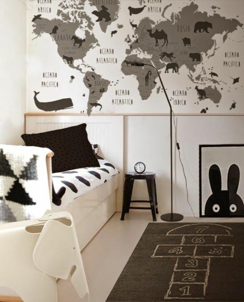 Mustertapeten Weltkarte Tapeten für Kinderzimmer gestalten