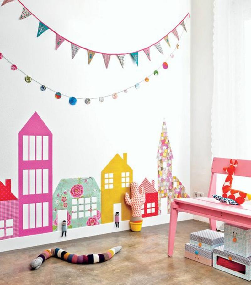 Mustertapeten farbige Gebäude Tapeten für Kinderzimmer gestalten