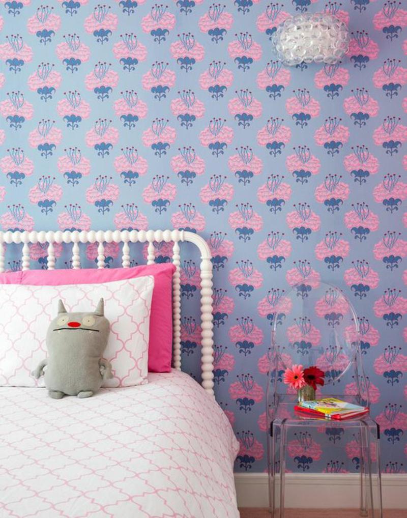 Mustertapeten rosa Blumen Tapeten für Kinderzimmer gestalten