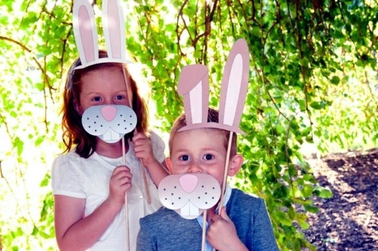 Osterdeko Garten Osterdeko basteln mit Kindern Osterhasen Masken