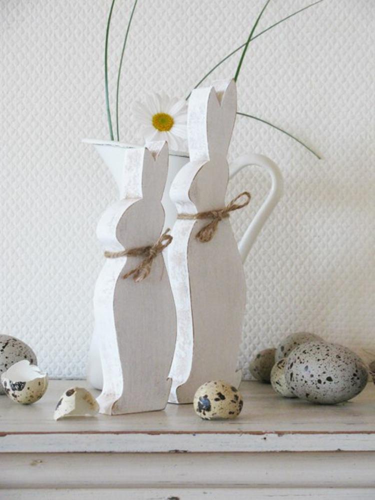 Osterdeko aus Holz Dekoartikel Osterdeko Ideen Osterhasen Holz weiß