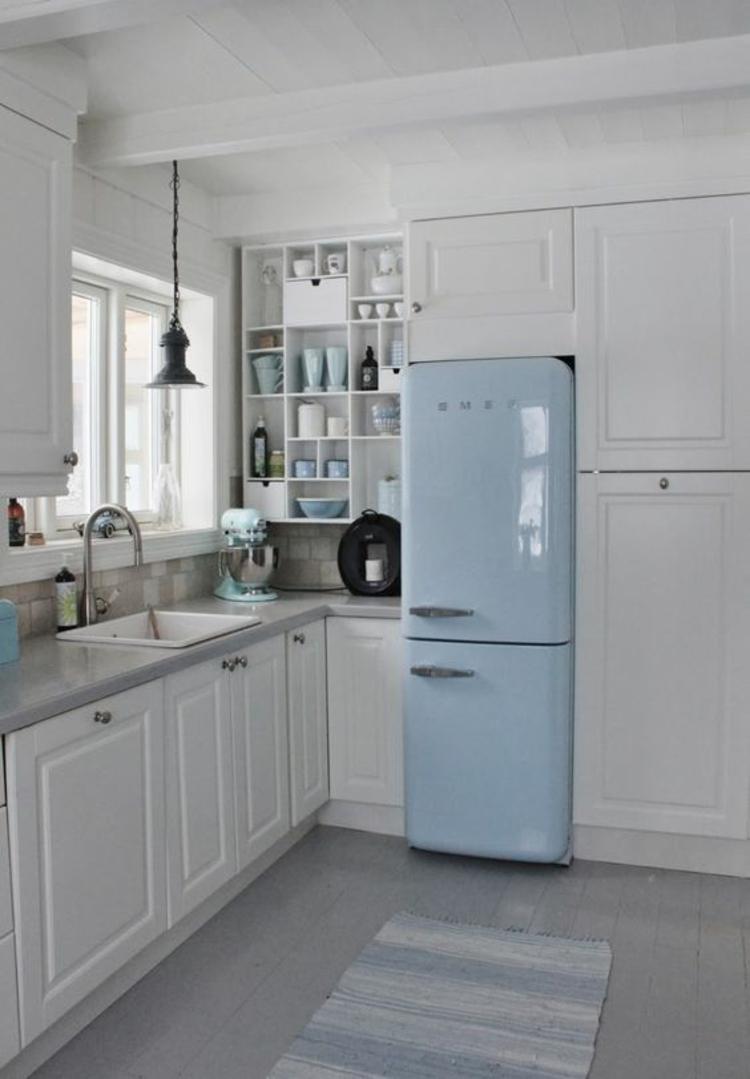 Retro Kühlschrank smeg hellblau Küchengestaltung Ideen