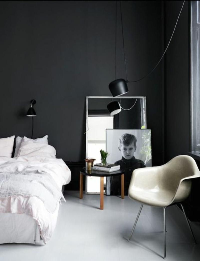 Schlafzimmermöbel Wandfarbe schwarz skandinavisch wohnen