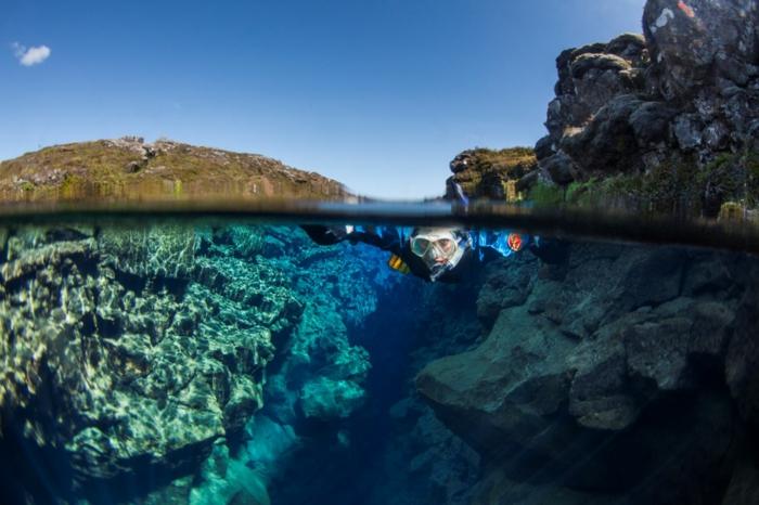 Silfra spalte island naturlandschaft tauchen