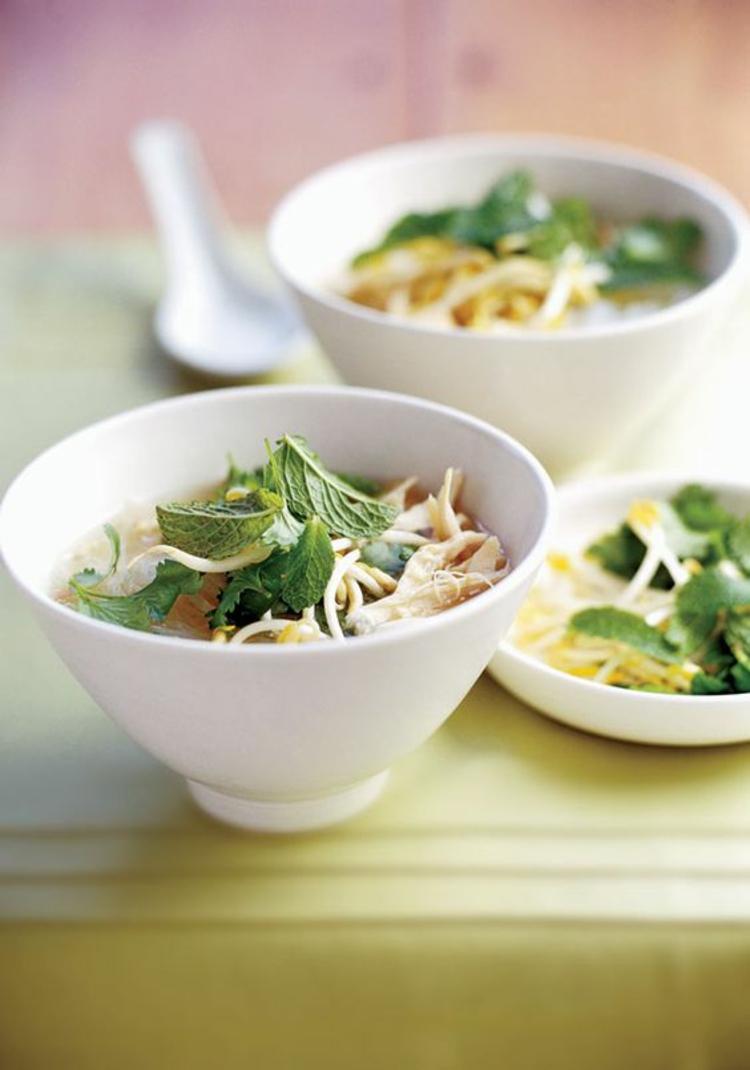 Soja und Rote Beete Sprossen gesunde Suppe Vorspeise