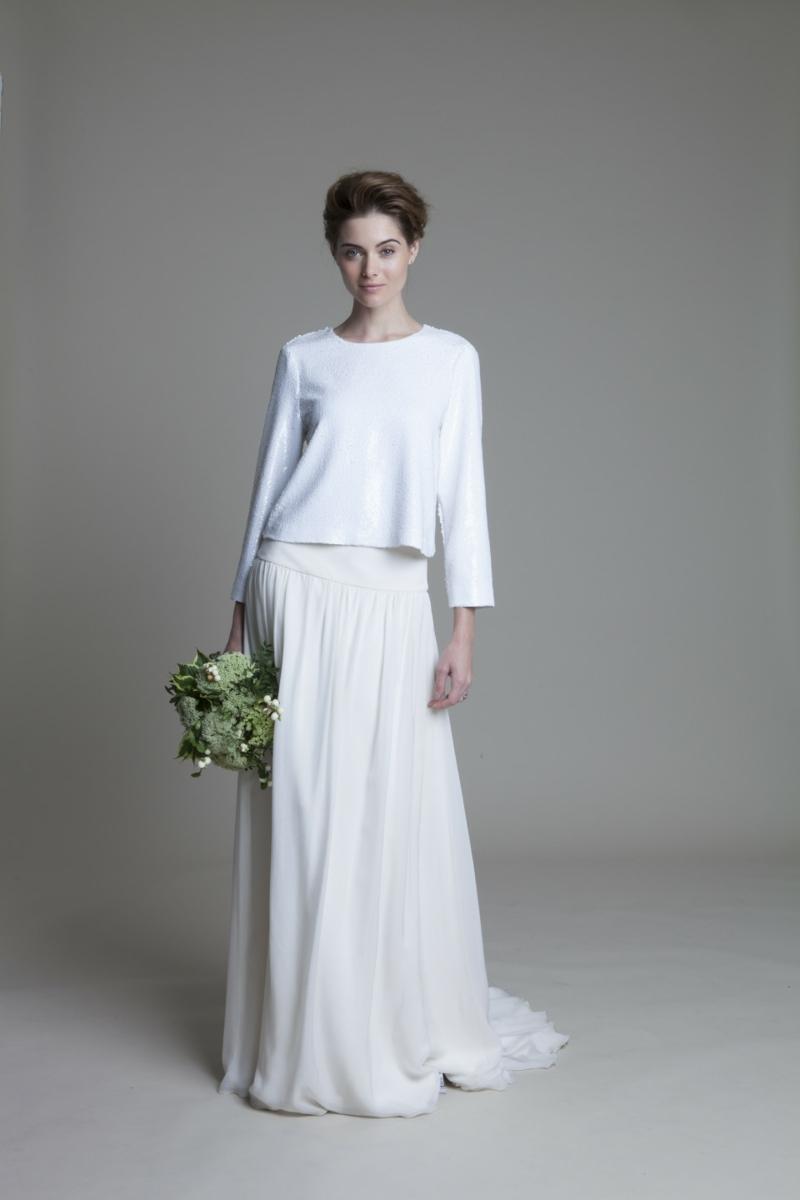 Standesamt Kleid bodenlang Brautmode Hochzeitskleid Rock und Bluse