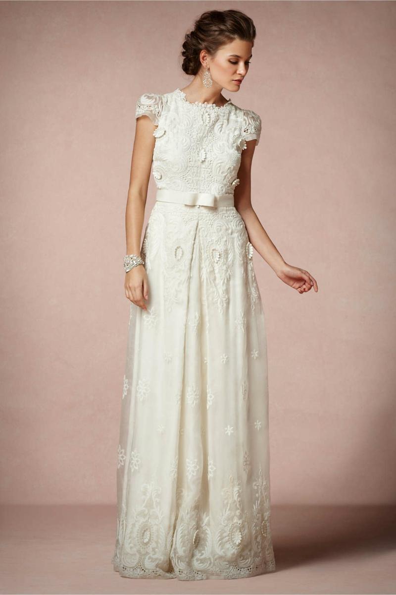 Standesamt Kleid bodenlang weiß Brautmode