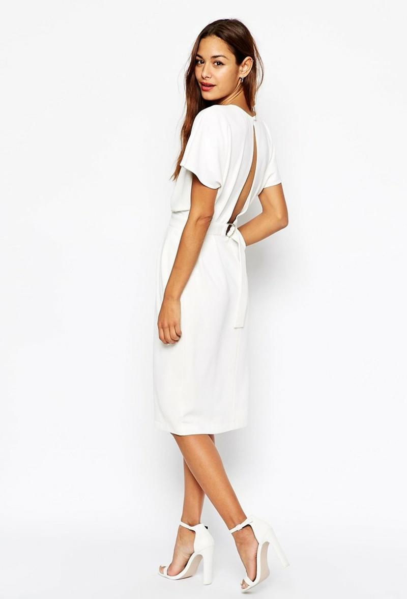 Standesamt Kleid knielang Brautmode Hochzeitskleid mit offenem Rücken