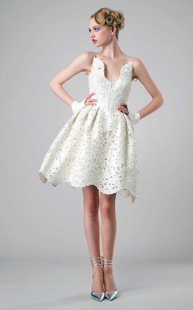 Standesamt Kleid kurz Brautmode Spitze ärmellos