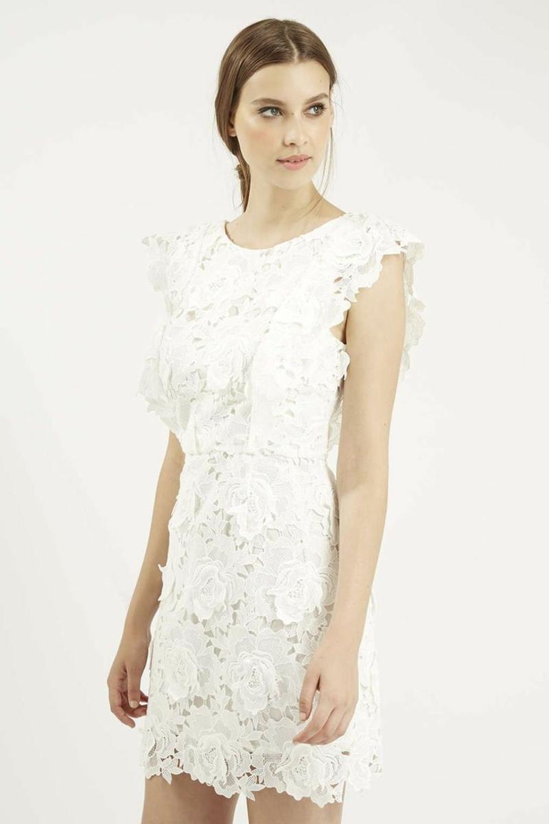 Standesamt Kleid kurz Brautmode Spitze Blumenmuster ärmellos