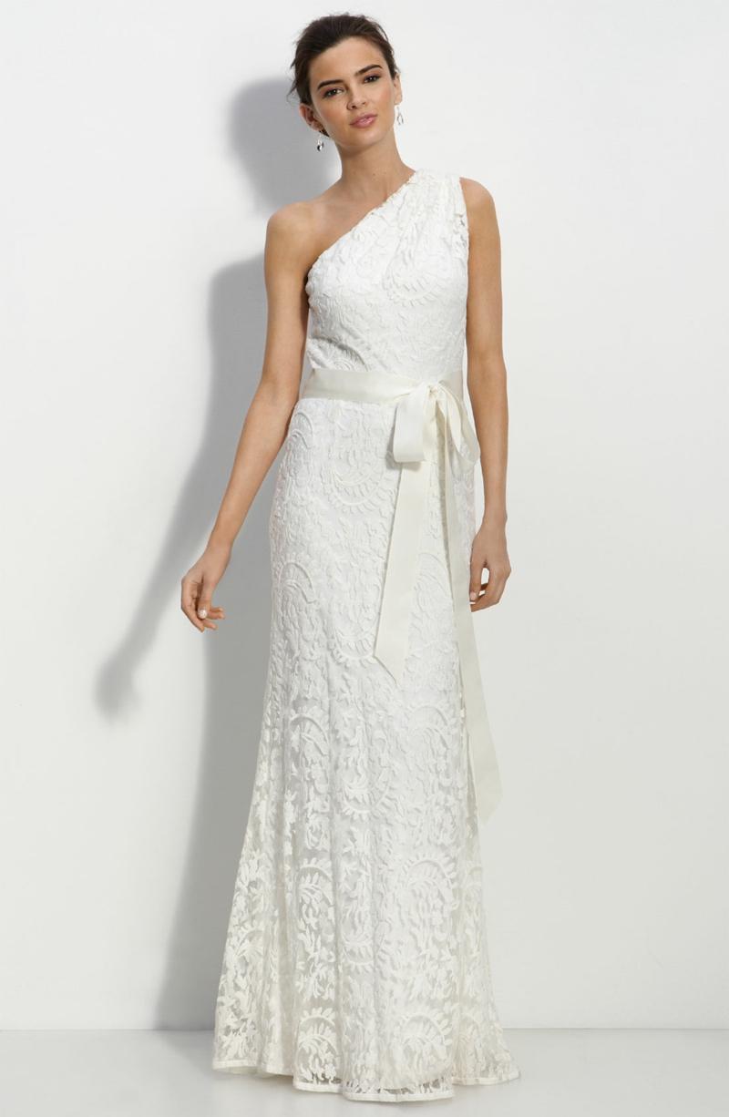 Standesamt Kleid lang Brautmode Spitze mit Gürtel ärmellos