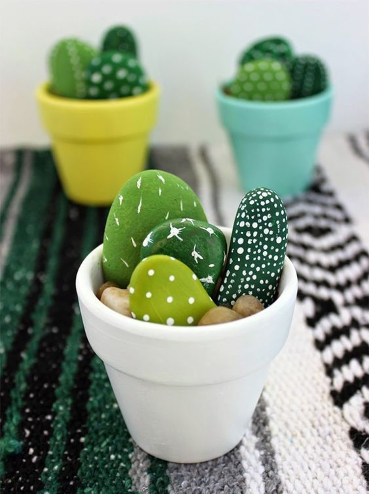 Steine bemalen Kaktus Deko Ideen Basteln mit Steinen