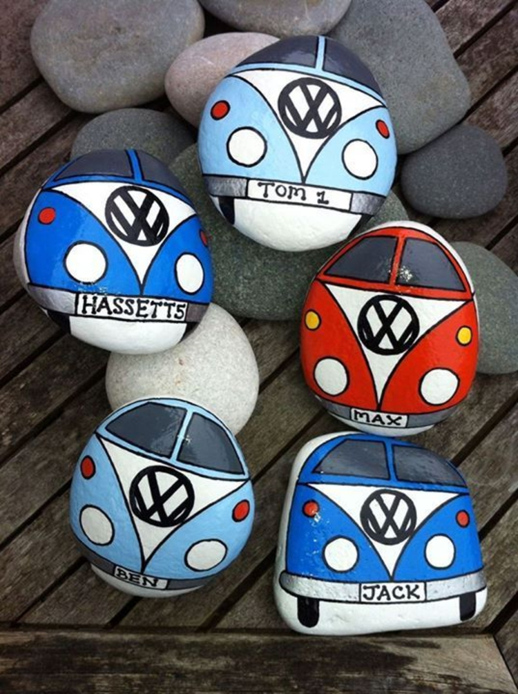 Steine bemalen Volkswagen Bus Basteln mit Steinen