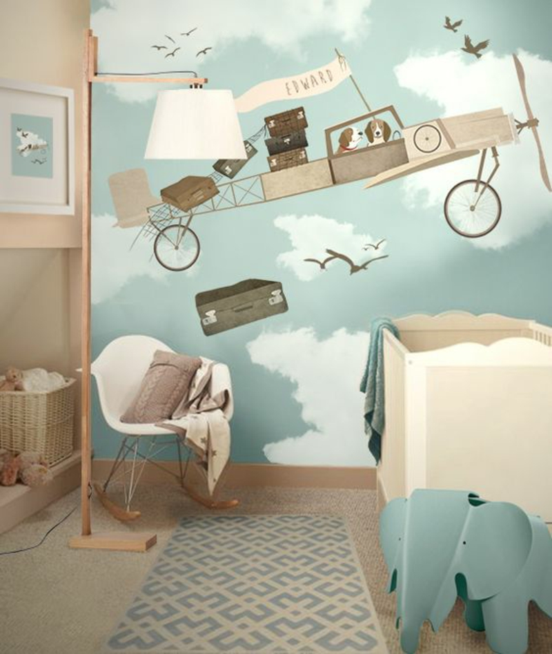 Tapeten Kinderzimmer Flugzeug Wolken Muster Kinderzimmermöbel