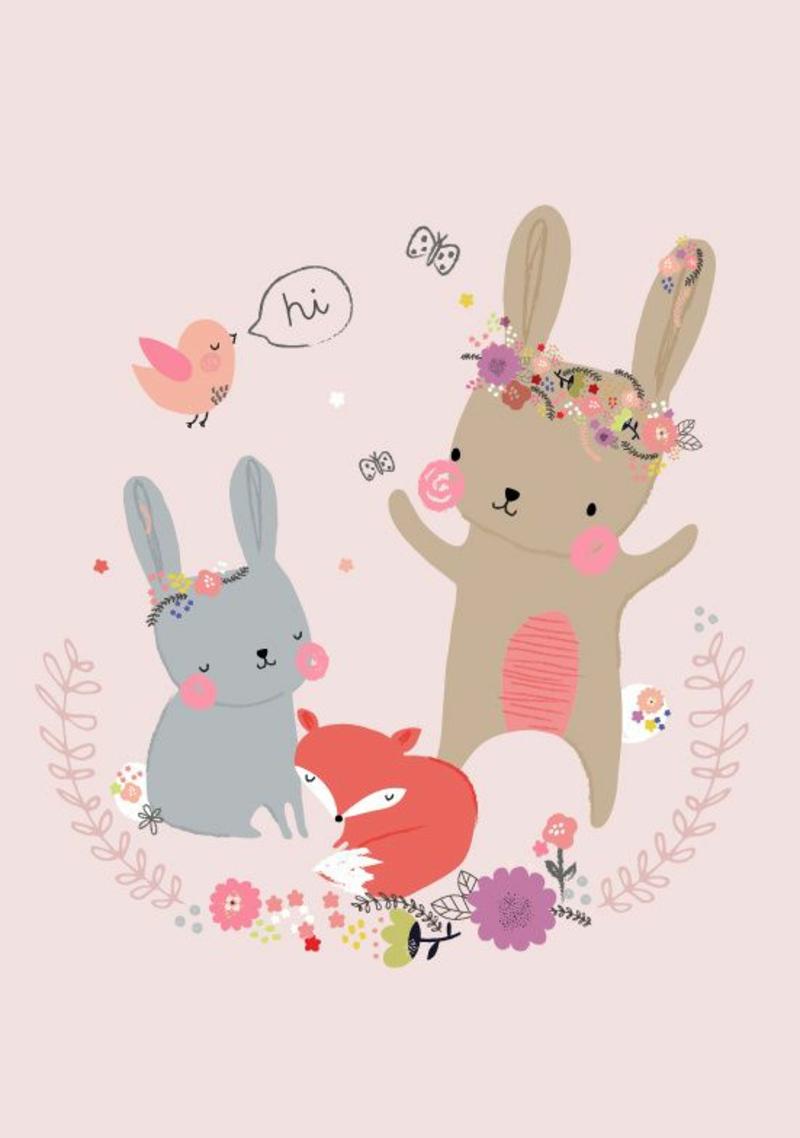 Tapeten Kinderzimmer Muster lustige Waldtiere Hasen und Fuchs