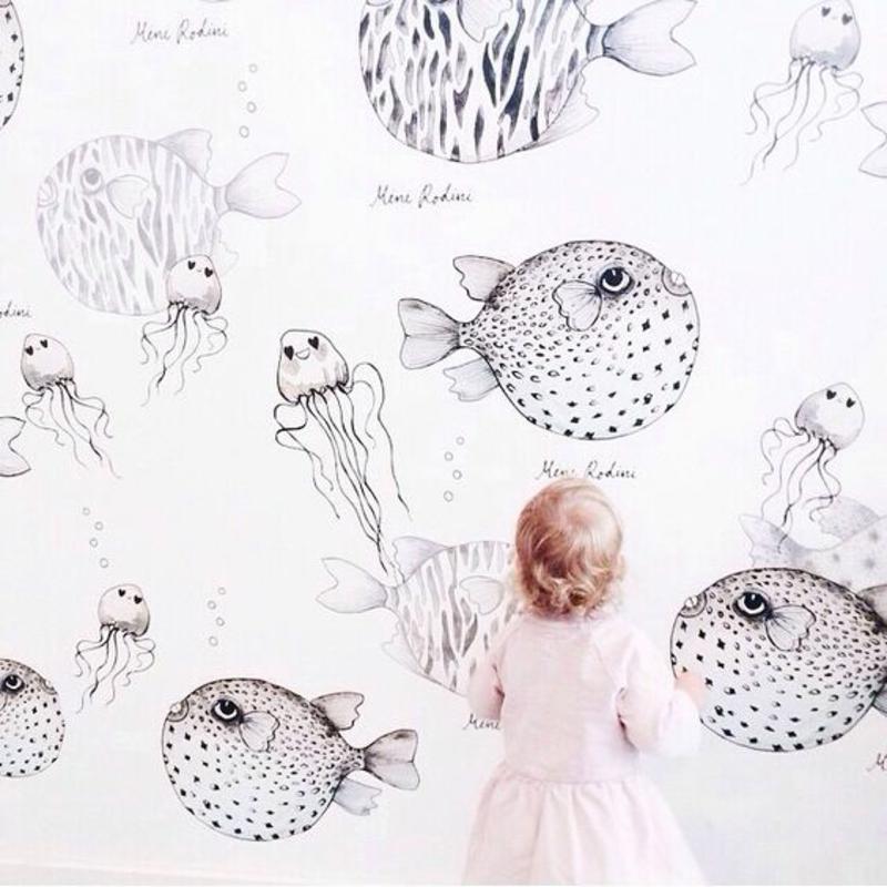 Tapeten Kinderzimmer Mustertapeten Fische wunderliche Meerwelt