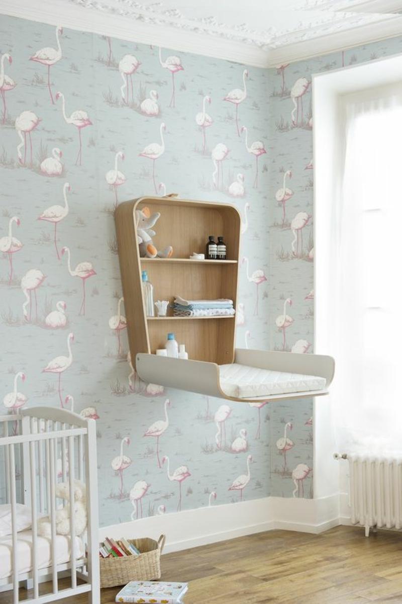 Tapeten Kinderzimmer Mustertapeten Flamingos Windeltisch