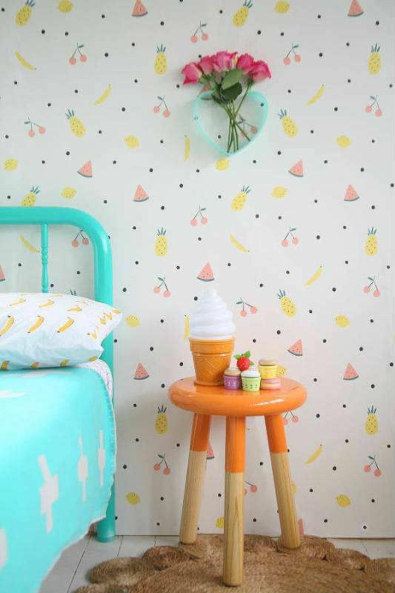 Tapeten Kinderzimmer Mustertapeten Sommerfrüchte in Pastellfarben