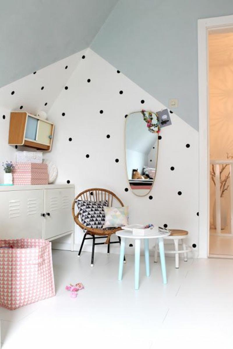 Tapeten Kinderzimmer Mustertapeten kreative Wandgestaltung Pünktchenmuster
