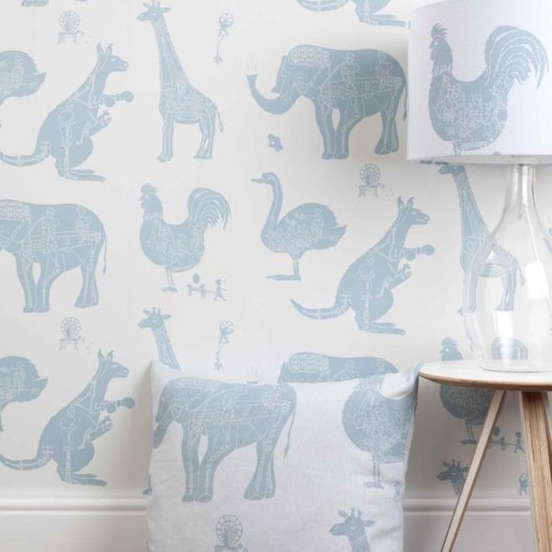 Tapeten Kinderzimmer Tiermuster in Blau