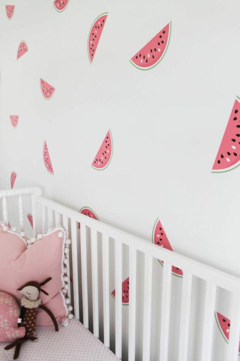 Tapeten Kinderzimmer Wassermelonen Muster pink Babyzimmer