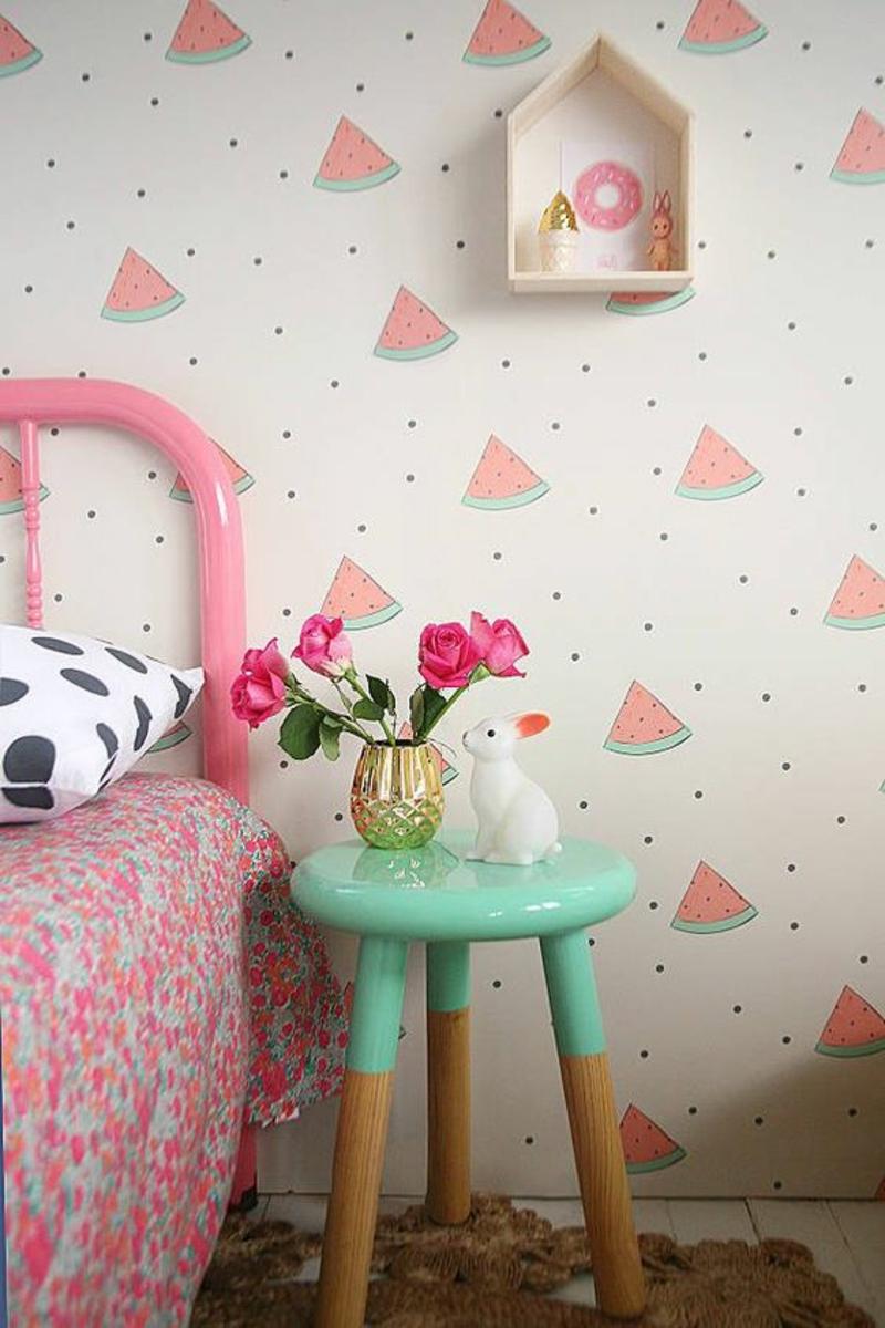Tapeten Kinderzimmer Wassermelonen Muster rosa Beistelltisch