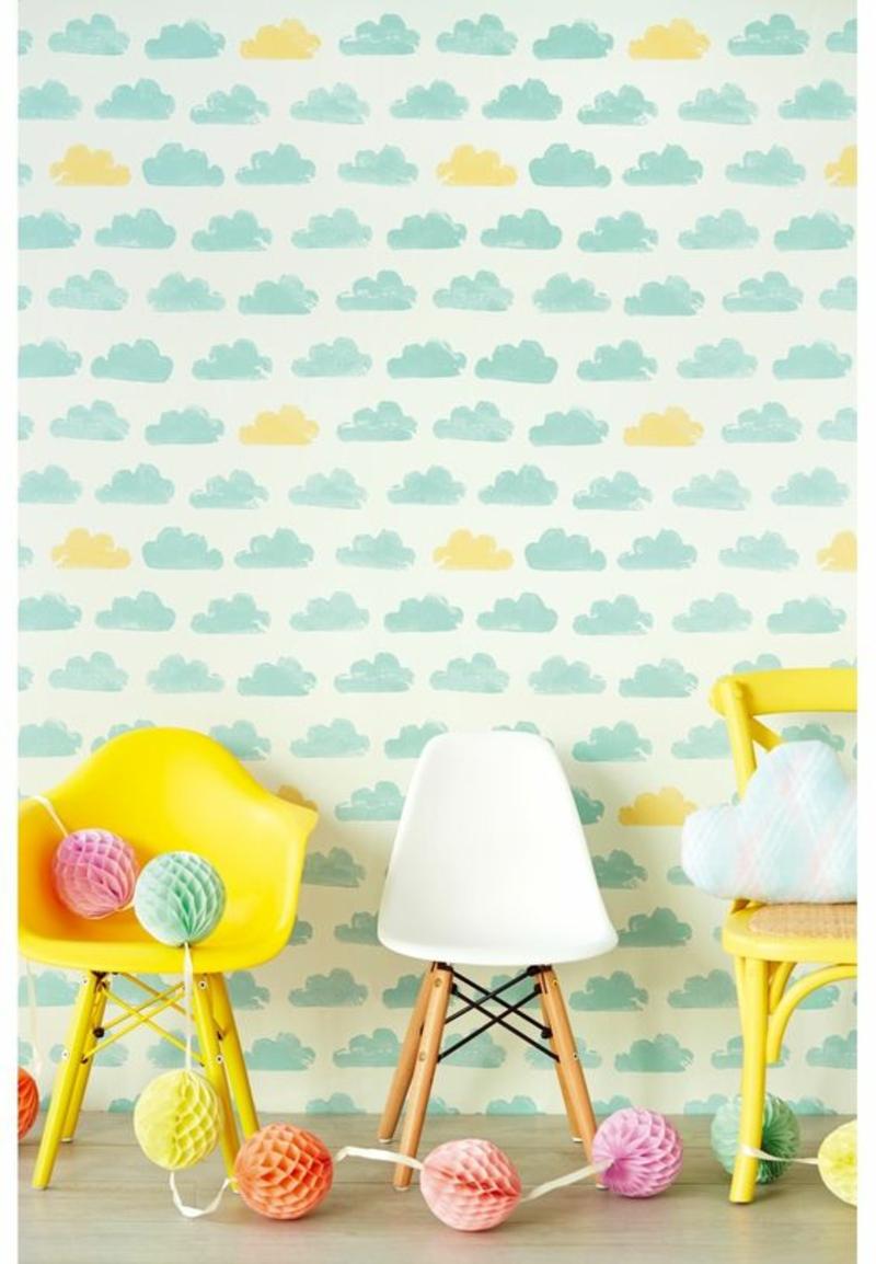 Tapeten Kinderzimmer Woklenmuster blau gelb