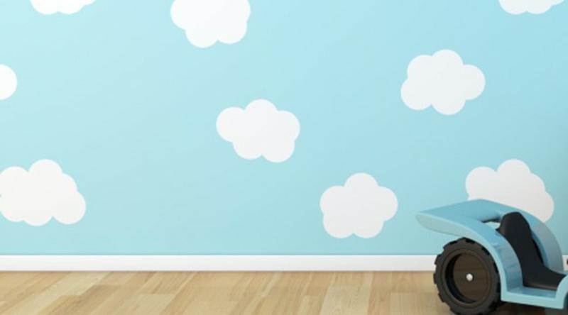 Tapeten Kinderzimmer blauer Himmel mit weißen Wolken