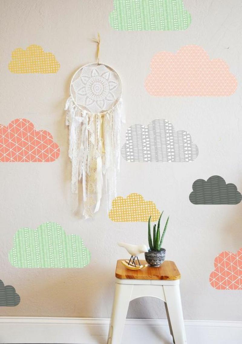 Tapeten Kinderzimmer bunte Wolken Tapetenmuster