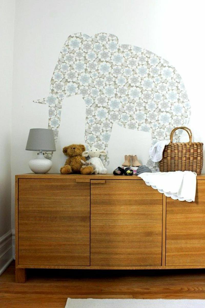 Tapeten Kinderzimmer gestalten Mustertapeten Elefant Blumenmuster