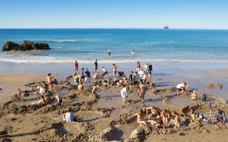 die schönsten Strände der Welt Hot Water Beach Coromandel New Zealand