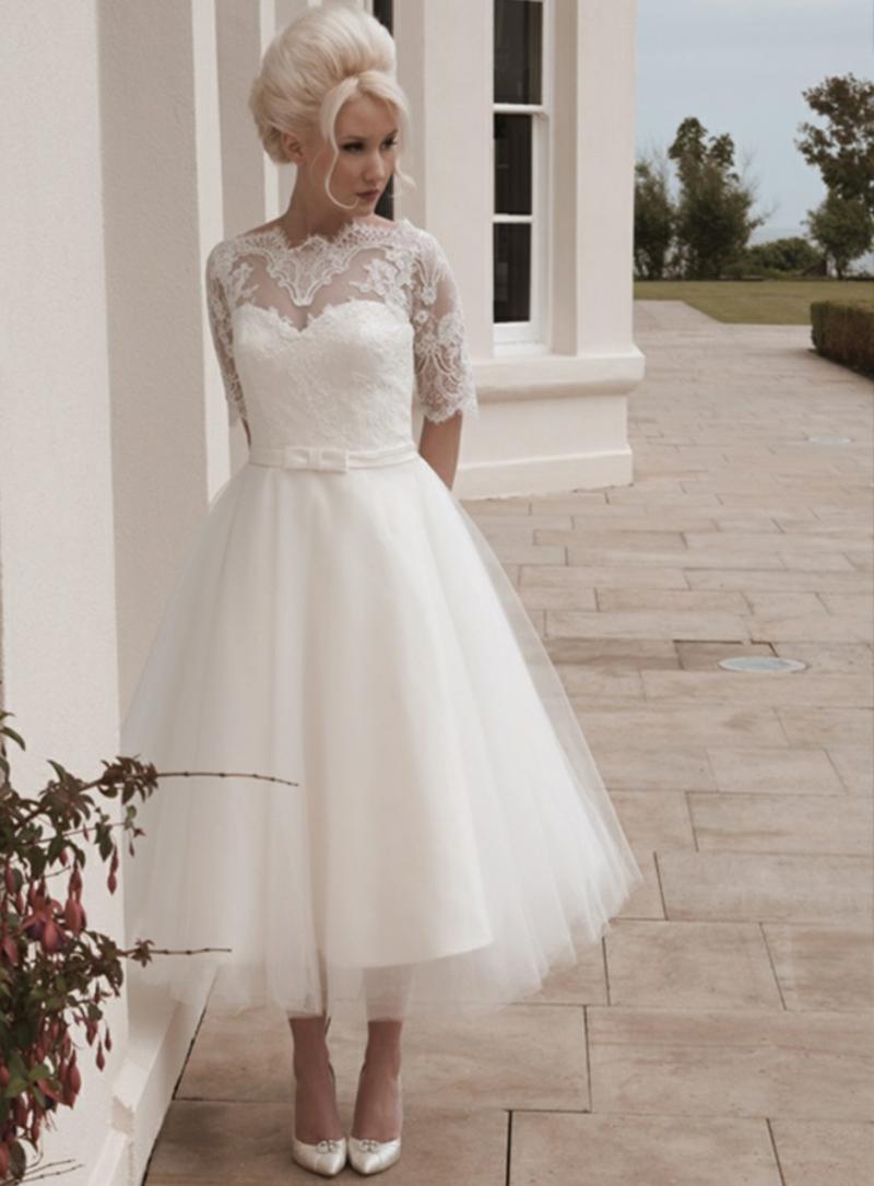 Vintage Standesamt Kleid kurz Brautmode Tüll und Spitze
