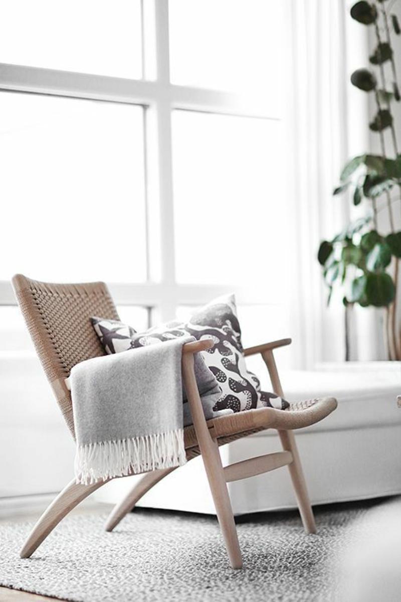 Wohnung skandinavisch einrichten Rattanmöbel Stuhl