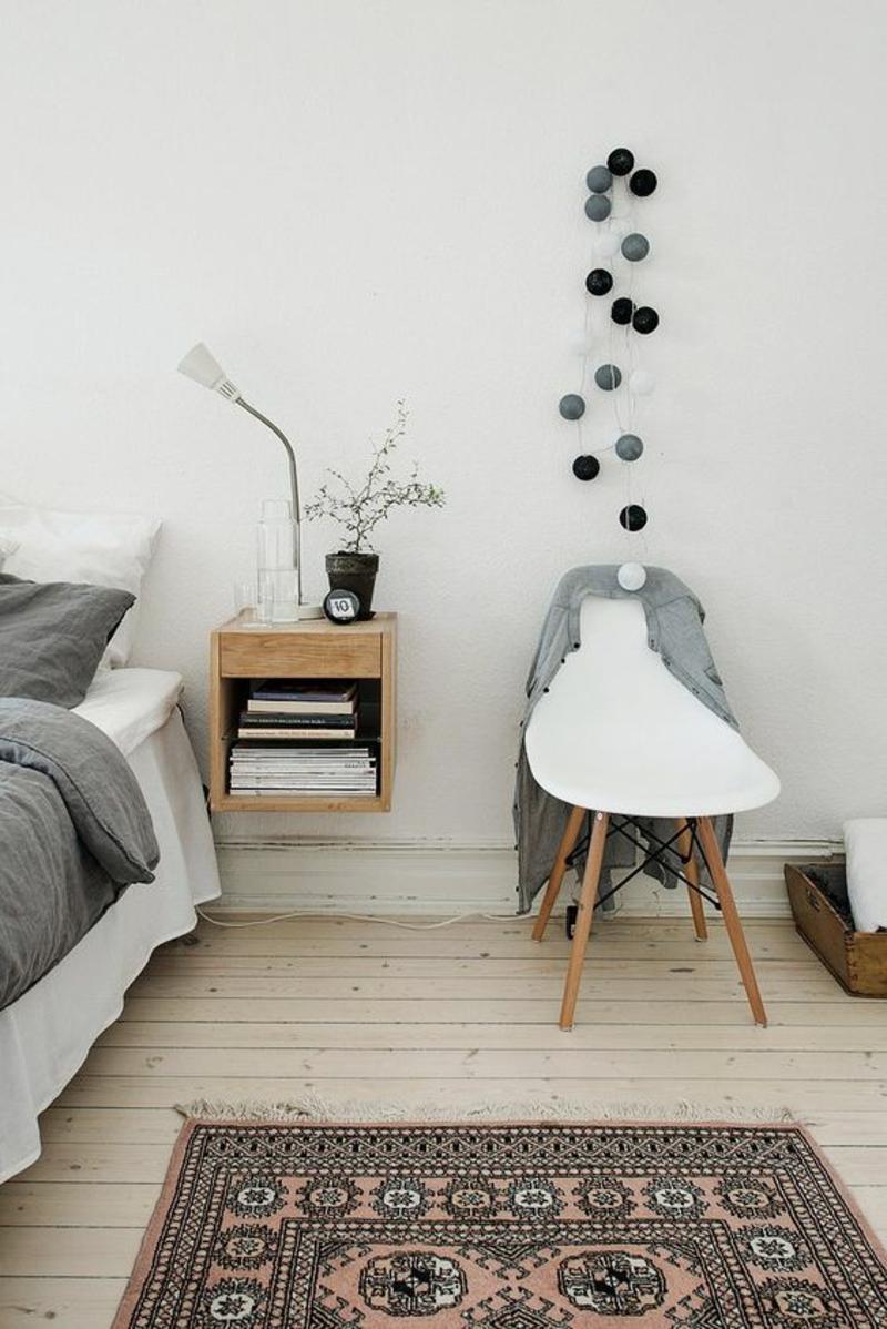 Wohnung skandinavisch einrichten Schlaszimmer Möbel Nachttisch