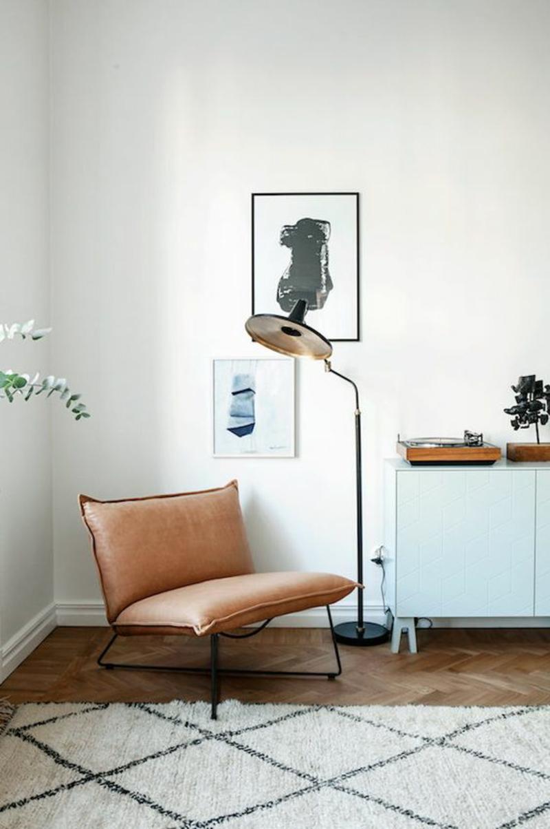 Wohnung skandinavisch einrichten Sessel leder braun
