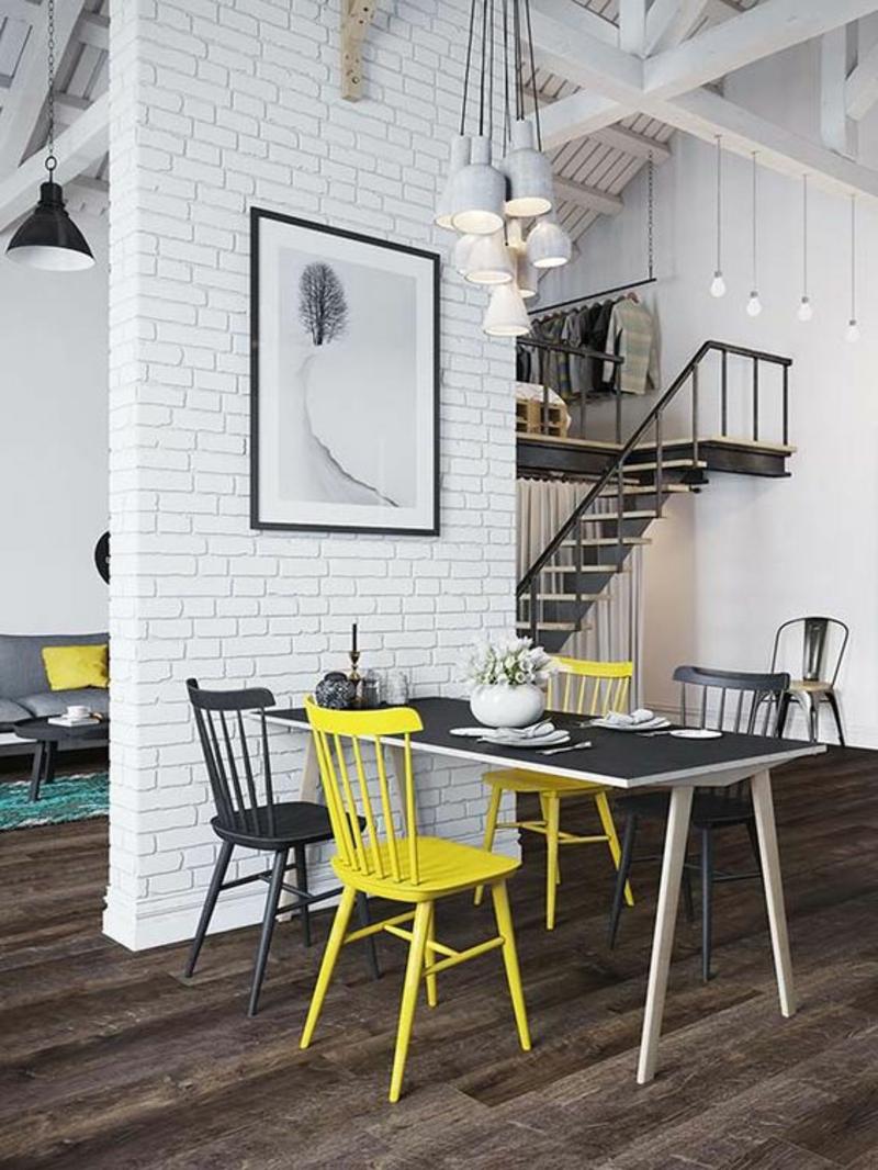 Wohnung skandinavisch einrichten rustikale Akzente Backsteinwand weiß