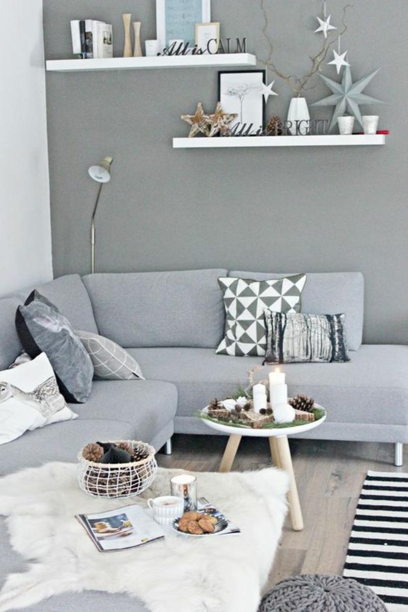 Wohnzimmer skandinavisch einrichten Ecksofa grau