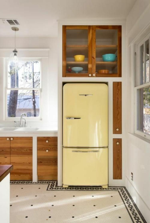 amerikanische Retro Kühlschränke gelb Küchengestaltung