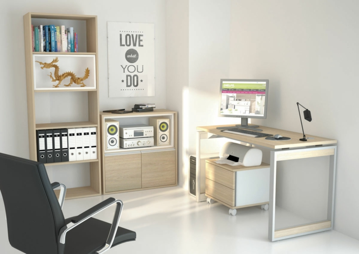 büroeinrichtung home office moderne büromöbel helles holz chefsessel