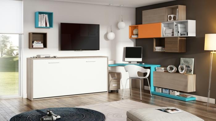 büroeinrichtunghome office moderne büromöbel wandregale weiße kommode blauer schreibtisch