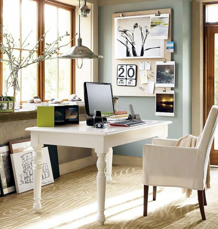 büroeinrichtung weiße büromöbel sessel schreibtisch holz metallene chrome pendelleuchte